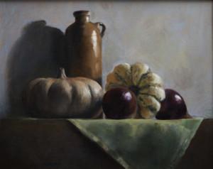 pumpkins and jug