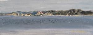 """across the bay $150 4"""" x 8 """" framed oil on wood"""