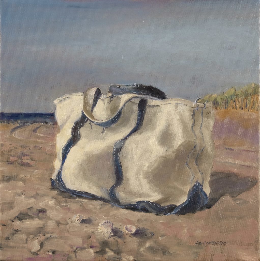 "beach is my bag $525 12"" x 12"" oil, unframed"