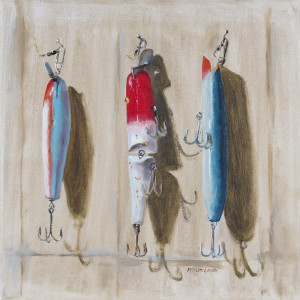 """lures XII $525 12"""" x 12"""" oil unframed"""