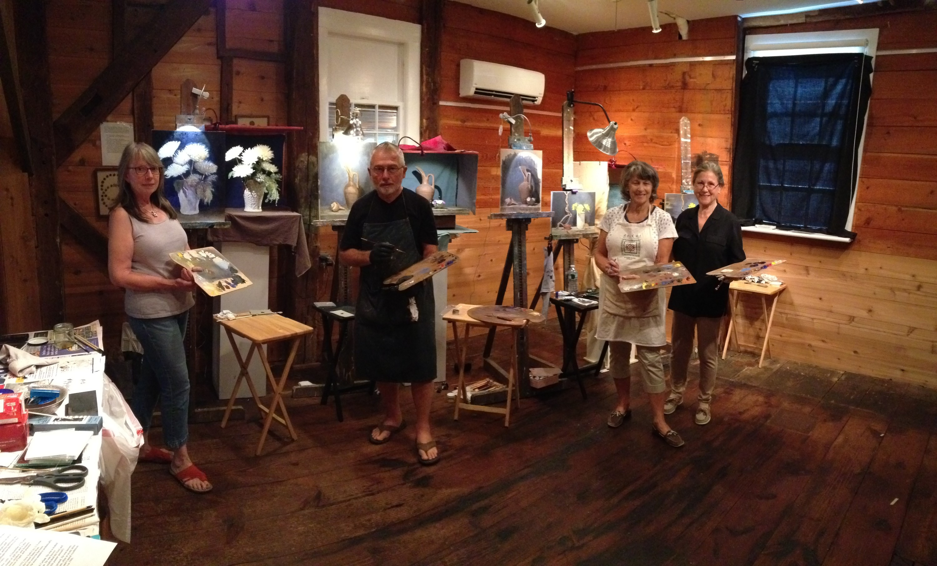 painters at Cornelia's art course- 4 days, from 10 am to 4pm- an intense and productive time!